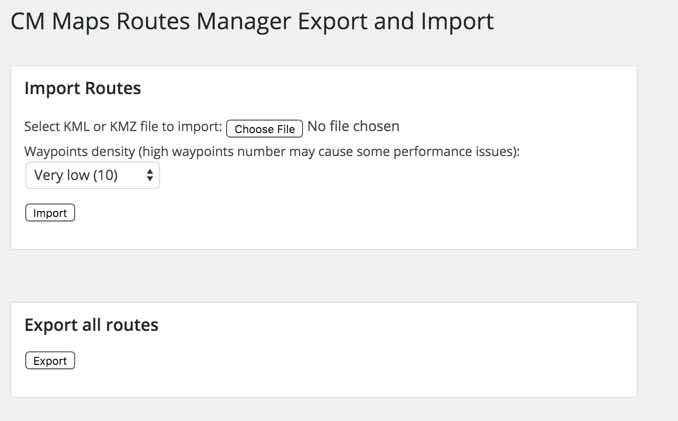 Route manager Import and Export Interface